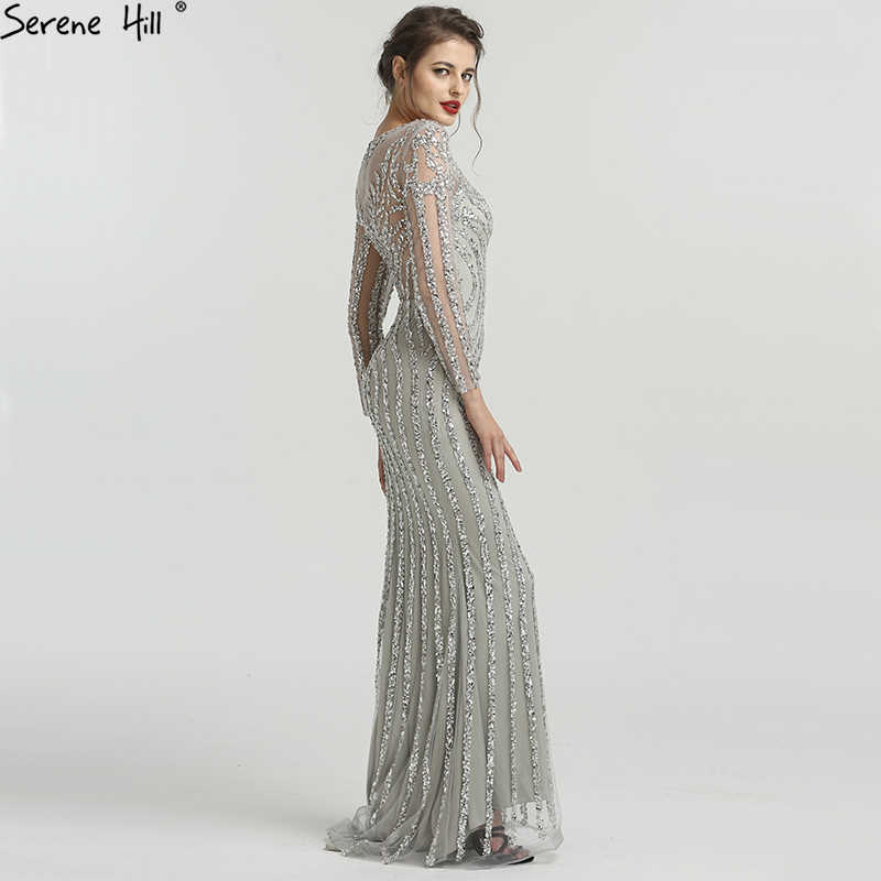... Grey Luxury Long Sleeves Sparkly Evening Dresses Mermaid Sexy Diamond Beading  Evening Gown 2019 Real Photo ... bc39059be4e0