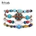Artilady natural turquoise velvet bracelets vintage fashion boho jewelry bracelets for women party gift