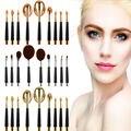 9 Unid Oval Bollo de Crema Base de Maquillaje En Polvo Cosmético del cepillo de Dientes Cepillos Set Nuevo