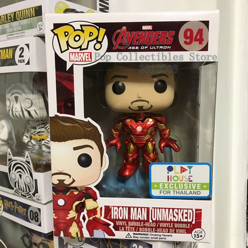 Exclusive Funko pop Official Marvel: Avengers 2 - Unmasked Iron Man Vinyl Action Figure Collectible Model Toy with Original Box  official funko pop marvel x men logan wolverine vinyl action figure collectible model toy with original box
