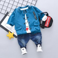 Newborn Clothes Korean Leisure Jacket + Shirt Top+Jeans 3PCS Set Baby Boy Clothes Suit Baby Girl Outfit Kids Bebes Jogging Suits