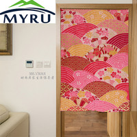Japan Style Folding Fans Pattern Door Curtain Digital Printing Polyesster Mouldproof Home Decorative Partition 85x120cm