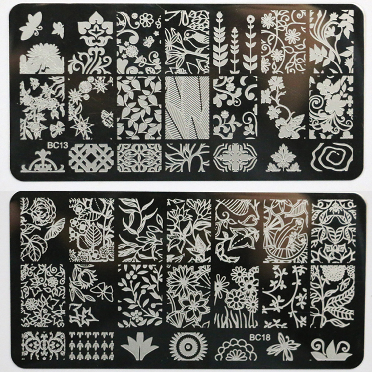 ᗗNew Product Leaves Forest Pattern Nail Art Stamping Image Plates ...