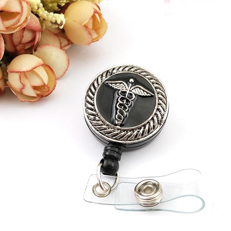 50/100 pcs/lot fantaisie noir émail ange aile symbole médical ID Badge titulaire/bobine pour infirmière médecin cadeau