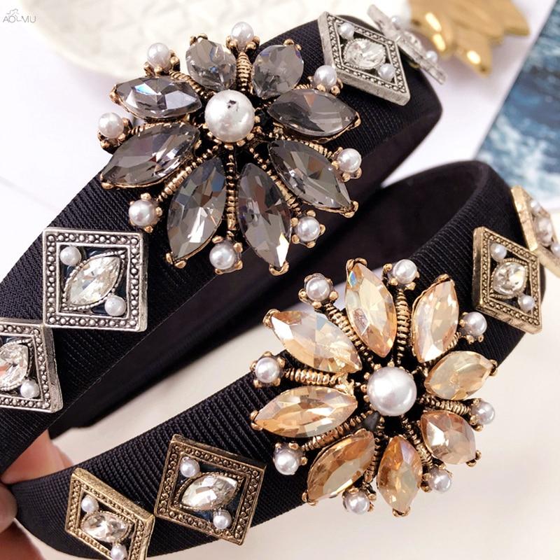 AOMU Korea Vintage Pearl Zircon Hair Accessories Hair Band for Girls Crystal Flower Headbands For Women Weeding Jewelry