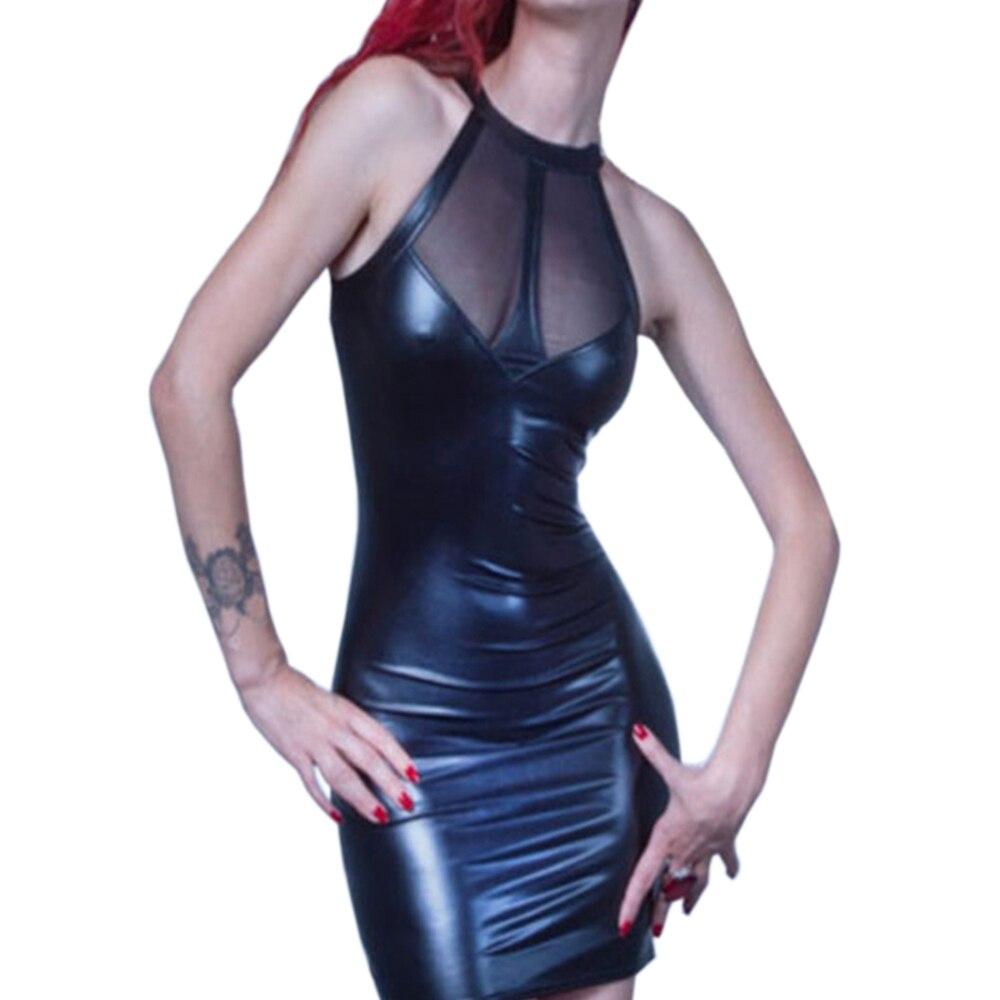 Letní černé faux kožené šaty sexy noční pól pólo tanec - Dámské oblečení