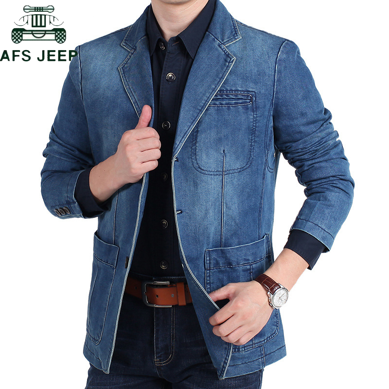 AFS JEEP Brand Denim Blazer Men Autumn Winter Cotton Denim Smart Casual Men Jacket Slim Fit Suits Plus Size 4XL blazer masculino-in Blazers from Men's Clothing    1