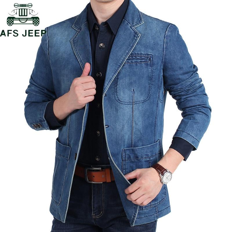 AFS JEEP Brand Denim Blazer Men Autumn Winter Cotton Denim Smart Casual Men Jacket Slim Fit Suits Plus Size 4XL Blazer Masculino