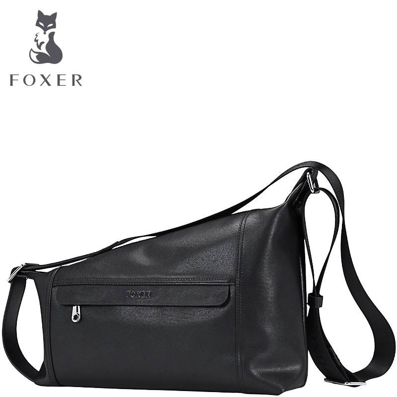 FOXER Famous Brands Men bag Fashion Cow Leather Mens Shoulder Bags Casual Messenger Bag Business Crossbody Bags For Men