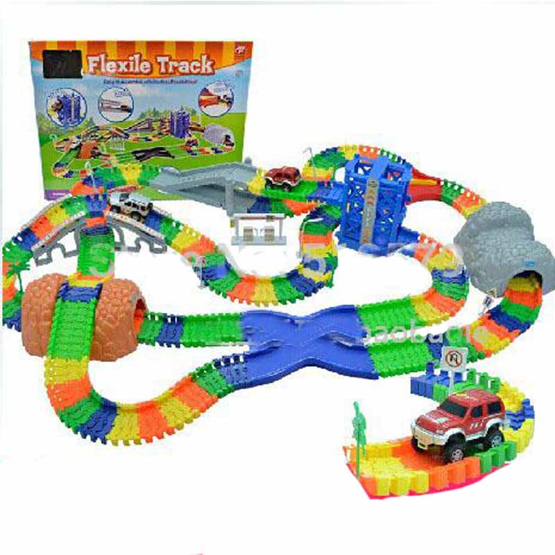 Tog Electric Diy Racing Spor Rollerbaner Spor Kid Electric Tog Car Fleksibel Track Twist Racetrack Railway Toy For Boy