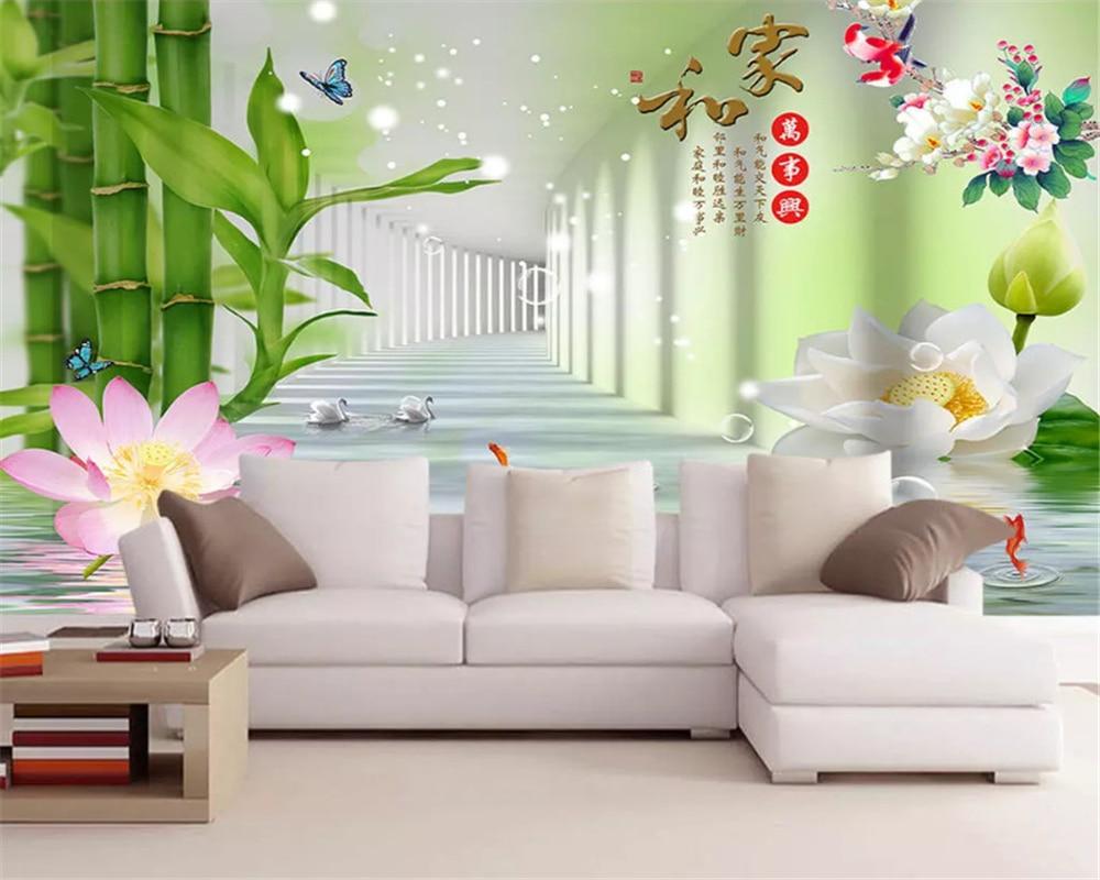 US $8 85 OFF Beibehang Dinding Mural Wallpaper 3D Gambar Tiga Dimensi Rumah Dan Semuanya Bahagia Bambu Lotus 3D TV Latar Belakang Kertas