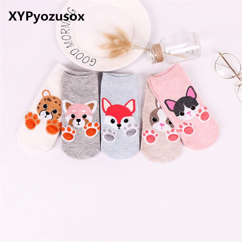 Kawaii Cartoon Animal Socks Short 3D Cat Claws Fox Cute Female Boat Socks Fox Dog Tiger Low Cut Ankle Socks For Women Girl