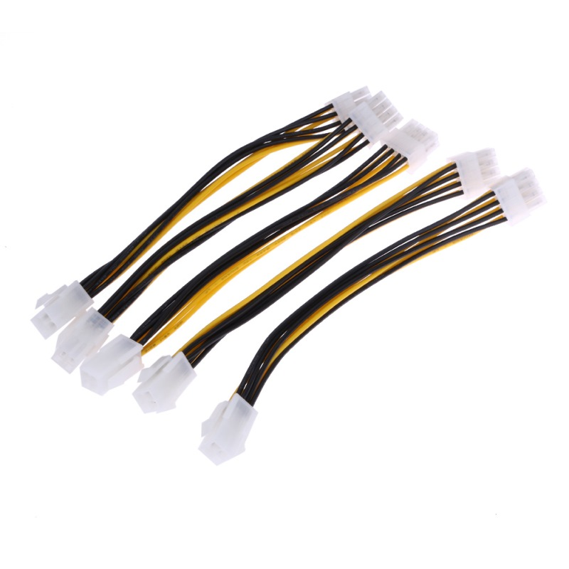 5PCS Brand New 20cm ATX 4 <font><b>Pin</b></font> Male to <font><b>8</b></font> <font><b>Pin</b></font> Female EPS Power Cable <font><b>Adapter</b></font> Convertor <font><b>CPU</b></font> Power Supply Cables High Quality image