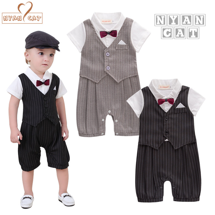 Nyan Cat Newborn baby boy clothes gentleman style clothing Kids summer short-sleeved boys  black and gray bow tie striped Romper gentleman baby boy clothes black coat striped rompers clothing set button necktie suit newborn wedding suits cl0008