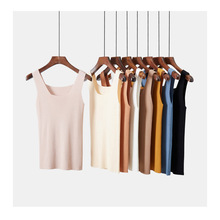 Fashion youth trend brand spring and summer new womens shirt U-neck slim vest inside the bottom wearing sexy knit sling women