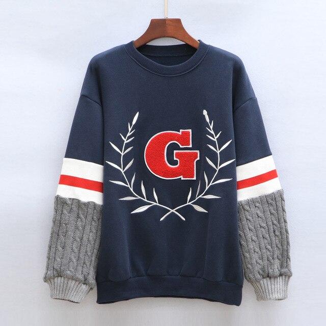 c1fe6919 Algodón de las mujeres Ocasionales Jerseys Otoño Femme Letra G Sudaderas  Bordadas Costura Knitting Mangas Sudaderas