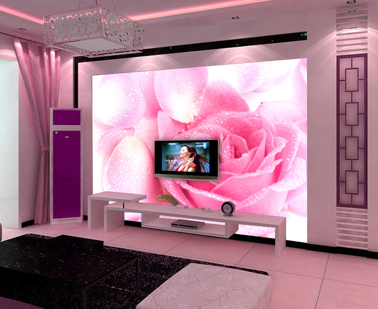 Custom Environmental 3D stereoscopic large mural fabric wallpaper wall paper living room TV sofa backdrop romantic pink roses 3d stereoscopic large mural custom wallpaper the living room backdrop bedroom fabric wall paper murals fashion romantic roses