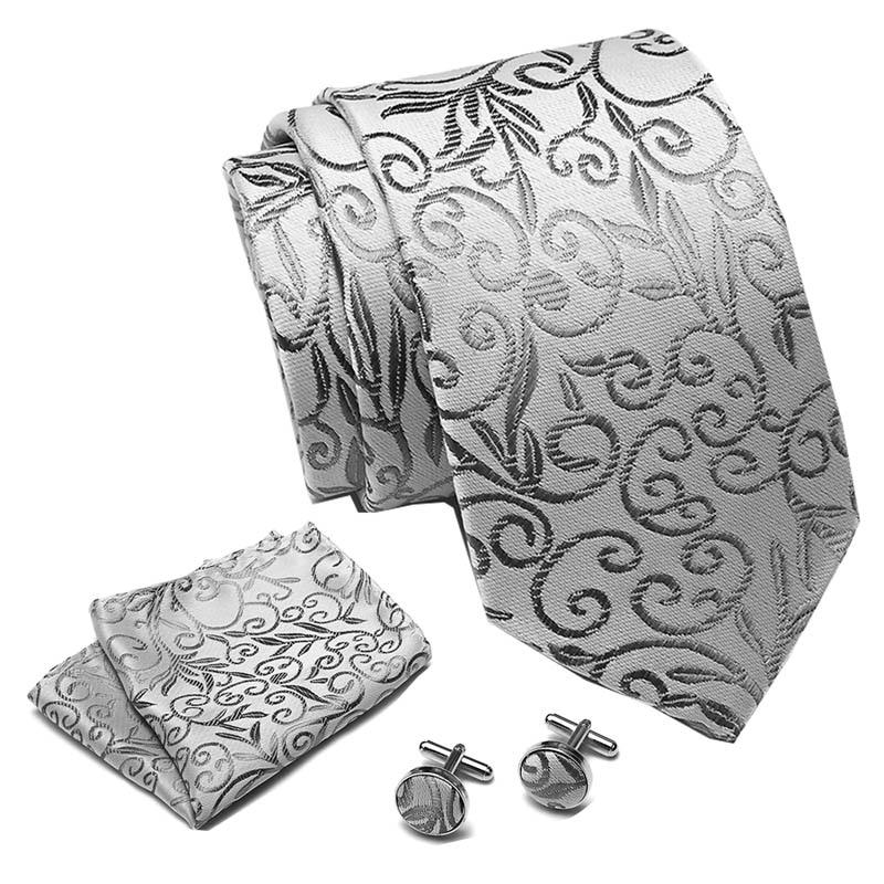 Mens Tie Grey Floral 100% Silk Classic Jacquard Woven Tie Hanky Cufflinks Set Men Formal Wedding Party Extra Long Size Neck Suit