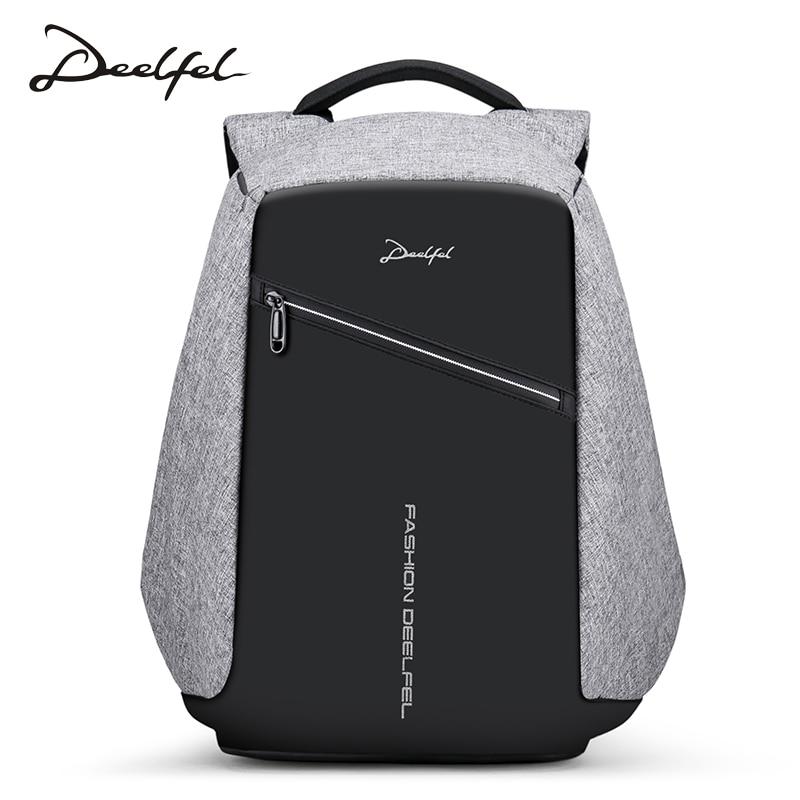 DEELFEL 2018 New Anti-thief USB Charging Laptop Backpack 15.6 inch Large Capacity Design Backpack Men Travel Backpack Waterproof