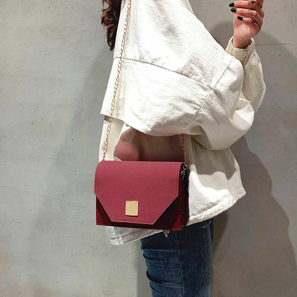 Tas Wanita Fashion PU Kulit Rantai Retro Messenger Tas Selempang Warna Solid Tas Tangan Tas Bahu Kantung Utama Femme