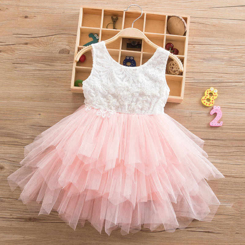 f8f72b39c12c Summer Lace Tulle Dress for Girls Princess Outfits Child Costume Kids Cake  Smash Beach Floral Dresses