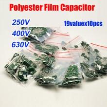 19valuesx10 шт = 190 шт полиэфирный пленочный конденсатор 2E 2G 2J Ассорти Комплект 220В 220В 220В 2E103-2J822