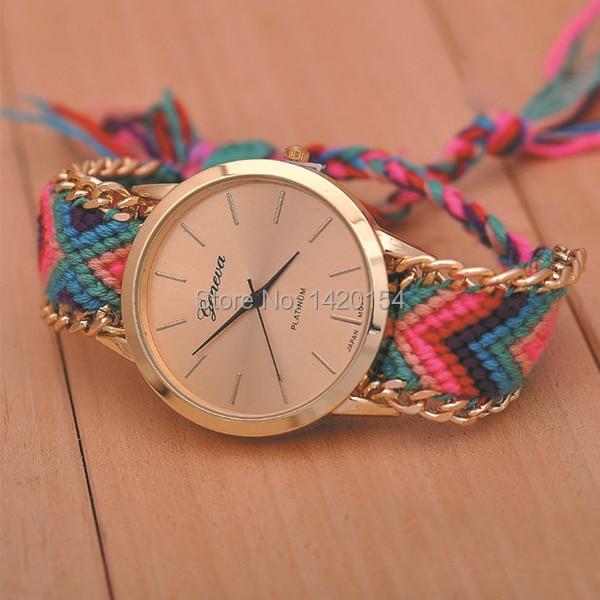 Mode Kvinnor Genève Inhemska Stickade Wrap Around Thread Band Watch - Damklockor - Foto 5