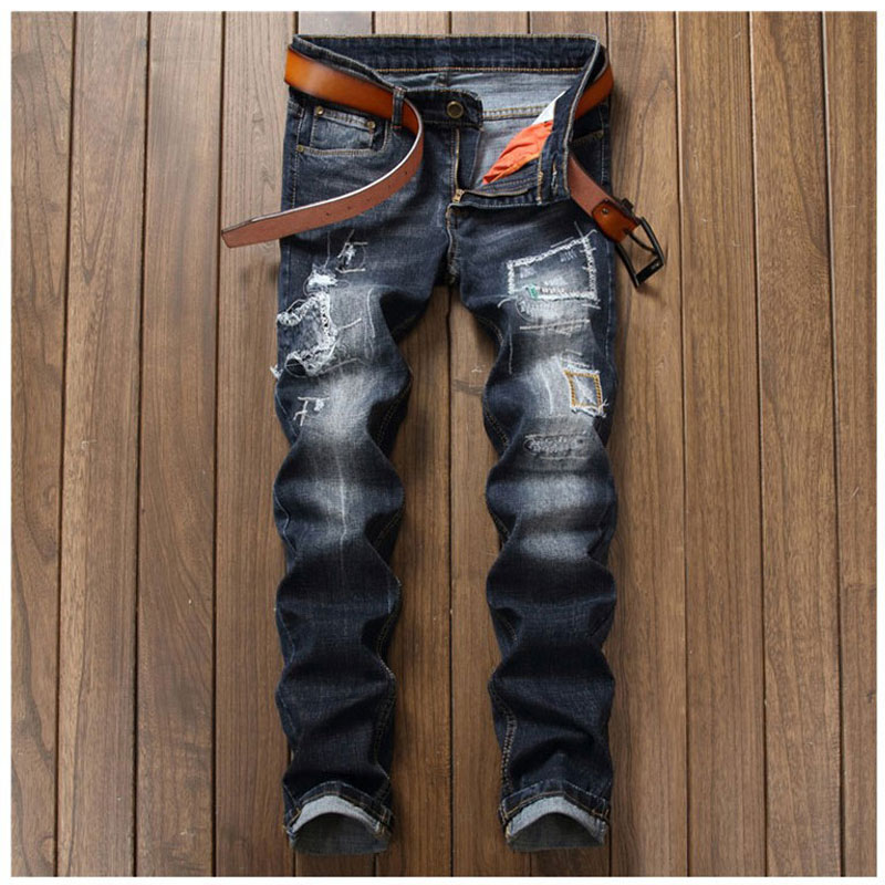 New Men Denim Jeans Pants Scratched Patchwork Hole Beggar Trousers Fashion Straight Slim Casual Vintage Mens Distressed Pants new fashion mens patchwork straight trousers men distressed ripped jeans brand scratched biker jeans denim slim fit casual pants