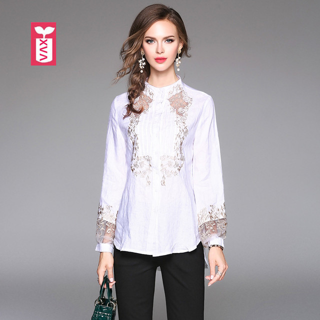 Showy Womens Exceptional Sea Embroidered Cotton Blouse- 5299136