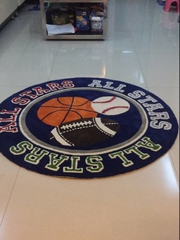 коврики для детской комнаты | Круглый детский игровой ковер для детской комнаты украшение баскетбольный футбол бейсбольный принт ковер украшение для комнаты мальчиков