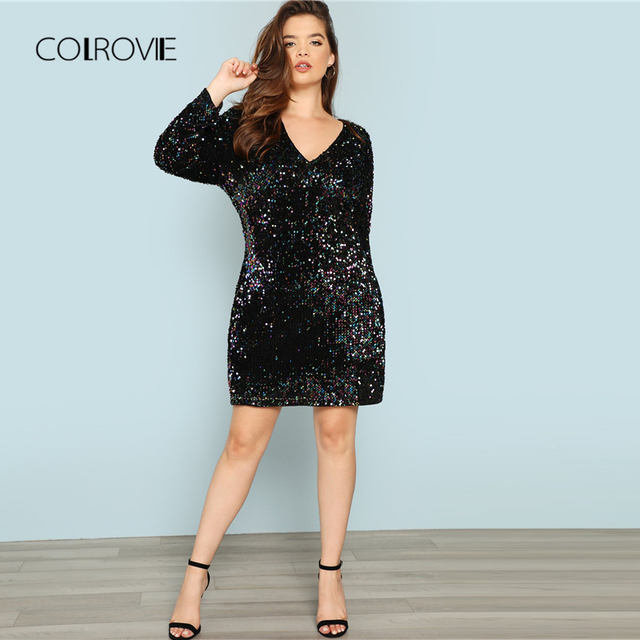 COLROVIE Plus Size Black V Neck Sequin Girls Sexy Dress Women 2018 Autumn Long Sleeve Party Dress Elegant Evening Mini Dresses 4