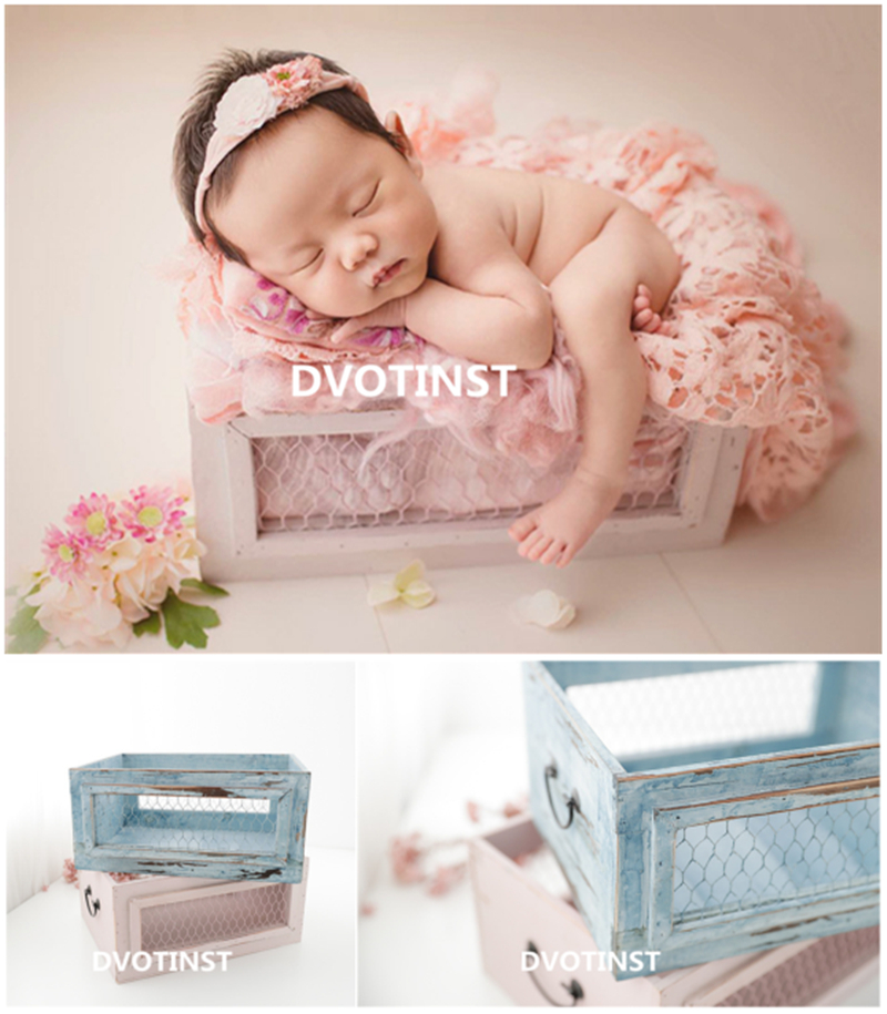 Dvotinst Newborn Baby Photography Props Wooden Posing Drawer Basket Tub Fotografia Accessories Infant Studio Shooting Photo Prop цена