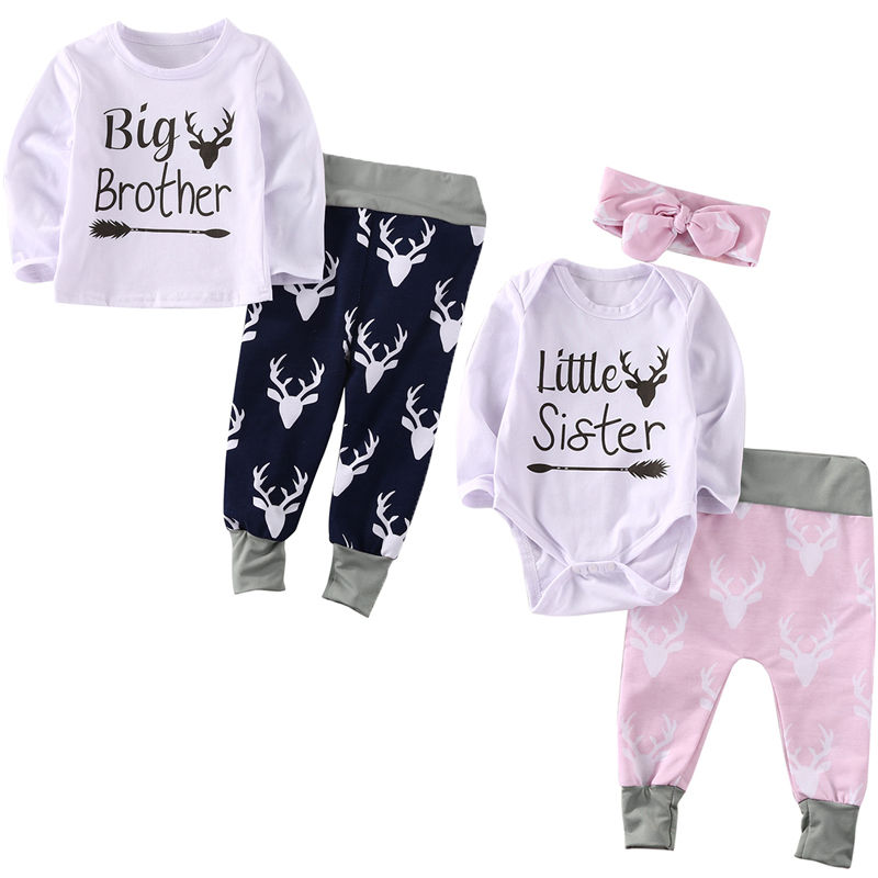 2017 New Newborn Toddler Infant Baby Girl Clothes Romper Pants Bodysuit Outfits Set Headband  недорого
