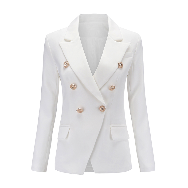 European Runway Classic Designer Shawl Collar Double Breasted Buttons Black White Blazers Office Lady Blazer Plus