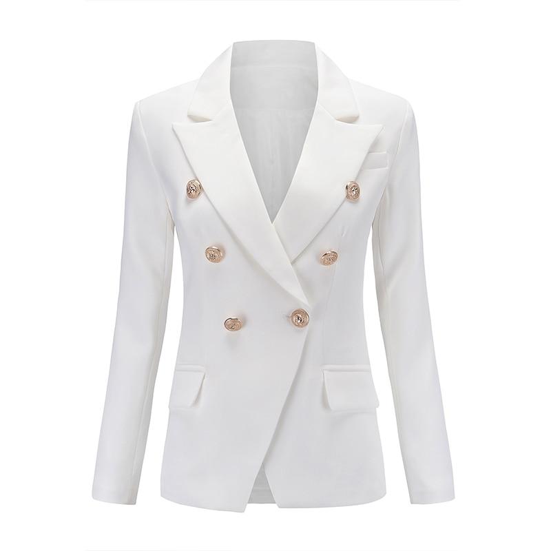 European Runway Classic Designer Shawl Collar Double Breasted Buttons Black & White Blazers Office Lady Blazer Plus Size XXXL