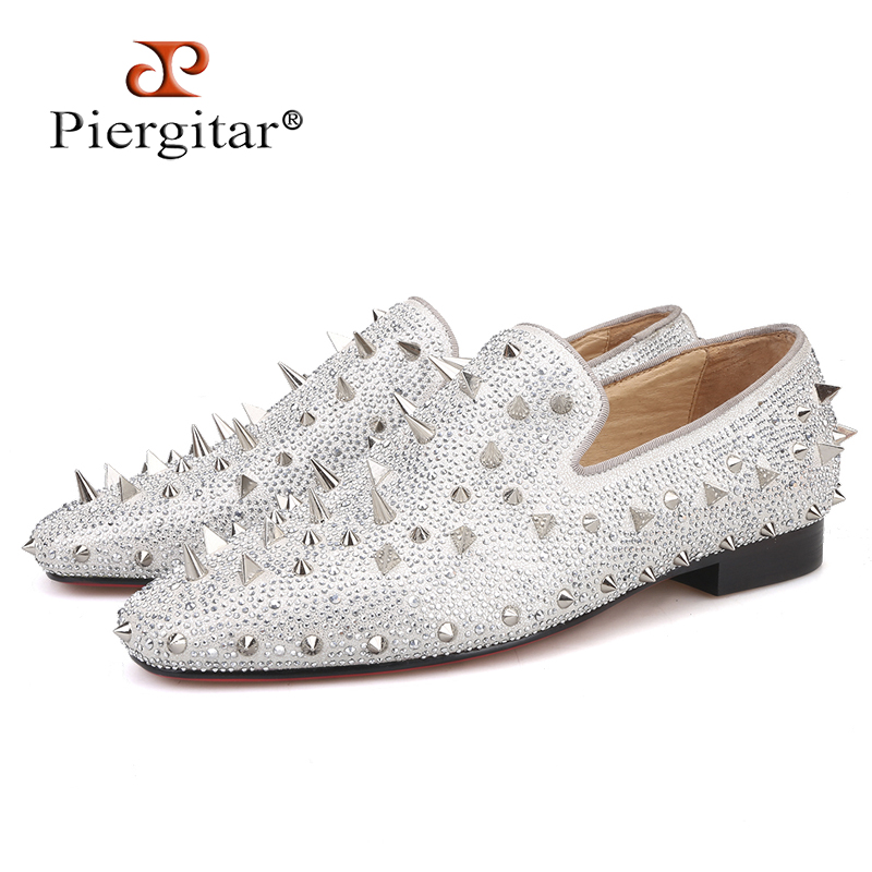 Piergitar Handcrafted Luxury Gold or Silver Spikes and Diamonds Men s Glitter Leather Loafers Suitable for