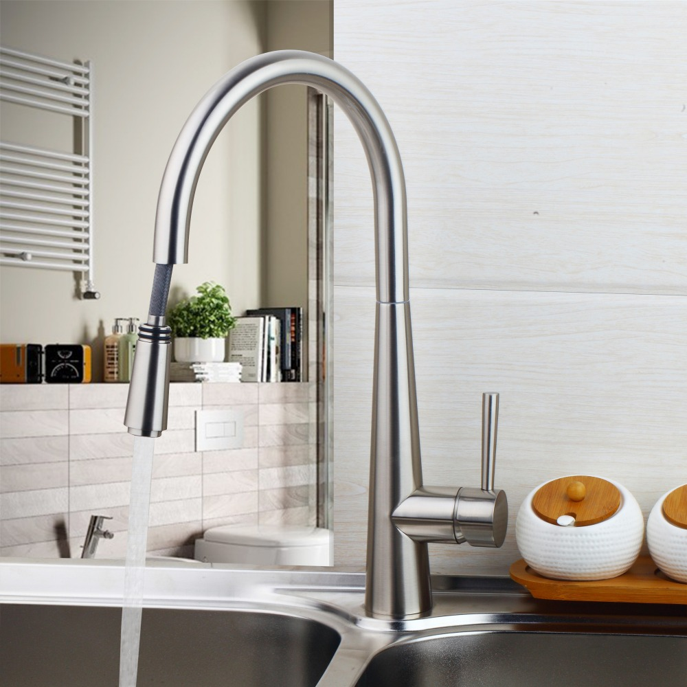 Usefull Modern 360 Swivel Pull Out Kitchen Wash Basin Sink Mixers Tap Pull Out Faucets Nickle