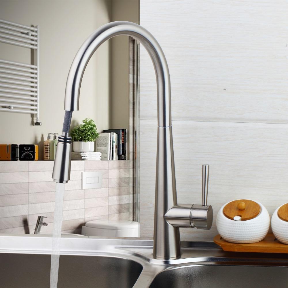 Útil Modern 360 Swivel Pull Out Kitchen Sink Mixer Tap Pull Out Torneiras  De Lavatório Níquel Part 46