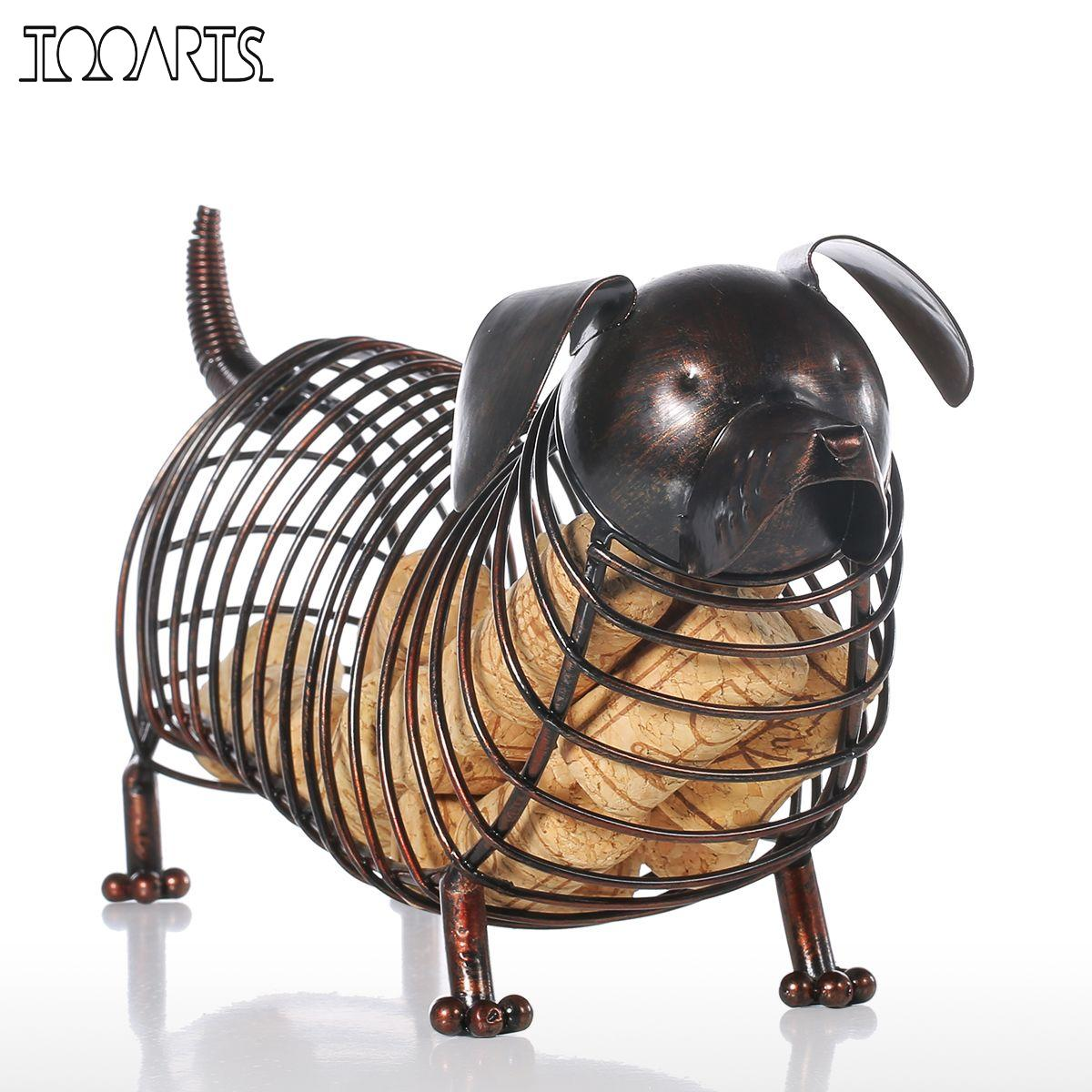 Tooarts Metal Animal Figurines Dachshund Wine Cork Container Moderne Kunstig Iron Craft Hjemmeinnredning Tilbehør Gave