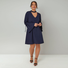 Halter Flare Sleeve Dress Women Big Sizes 7XL 6XL 2018 Spring Navy OL Style A-Line Hollow Out dresses Plus Size Women Clothing