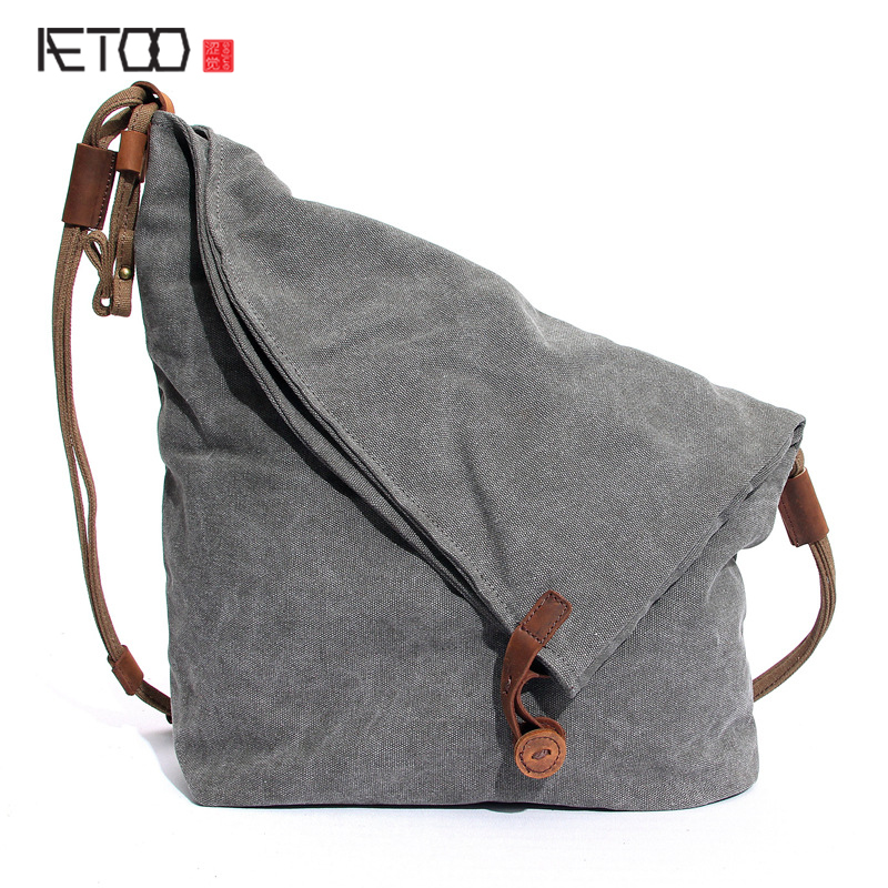 AETOO Men and women package canvas bag wholesale new mad horse leather shoulder Messenger bag on