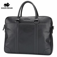 BISON DENIM Fashion Cowhide Male Handbag Famous Brand 14 Inches Laptop Business Bag Men Messenger Bag