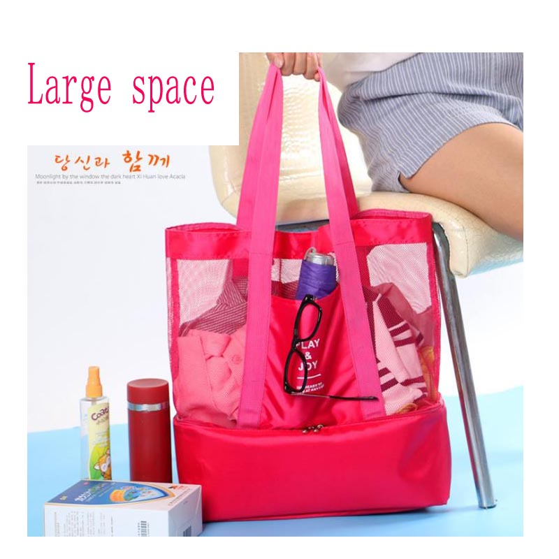 2019 New Beach Bag Portable Single Shoulder Multi Function Picnic Pouch Double Insulation Bag Men Women Network Pocket in Lunch Bags from Luggage Bags