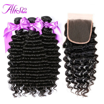 Alishes Malaysian Hair Weave Deep Wave 3 Bundles With Closure 100% Human Hair Bundles With Closure Non Remy Hair Extensions