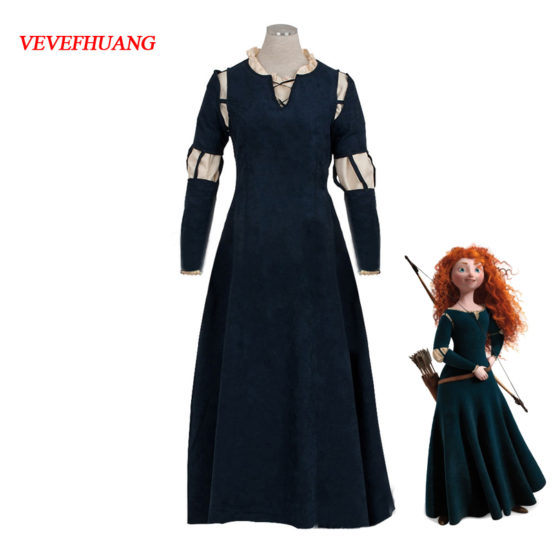 VEVEFHUANG Brave Movie cosplay Princess Merida Cosplay Costume Outfit Halloween party princess cosplay Fancy drama Dresses