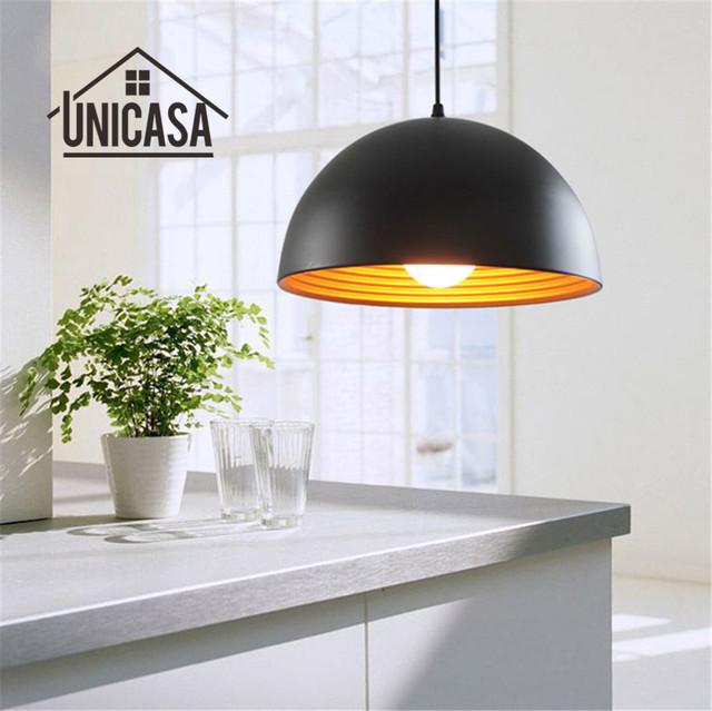 Black Shade Wrought Iron Lighting Fixtures Modern Pendant Lights Kitchen Island Office Hotel Antique Mini