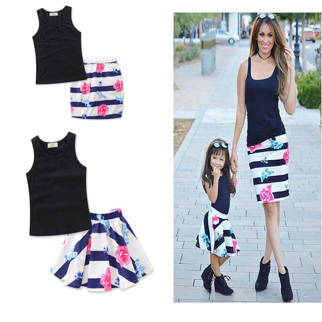 2017 Sets Summer Style Solid Cute Matching Clothes Direct Selling New  Summer Korean Chiffon Children Suit Family Princess And 3d7cb66d85d5