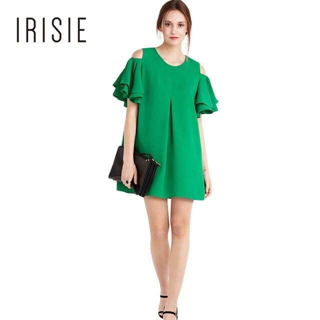 b6a3f617079b IRISIE Ropa Vestido de Verano de La Colmena Verde Frío Hombro Vestidos  Ocasionales Flojos Femeninos Dulce Volante Mini Vestido Ropa de Mujer