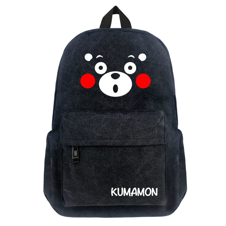 Anime Kumamon Black Bear Canvas Backpack Student School Bag Men Casual Laptop Shoulders Bag Black Cartoon Travel Bags цена 2017