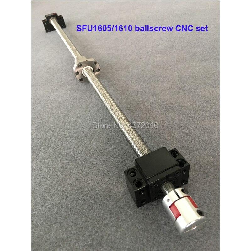 SFU1605 1610 jeu de vis à billes 1100 1200 1500mm avec extrémité usinée + 1605 écrou à billes + BK12BF12 pièces de CNC de support d'extrémité
